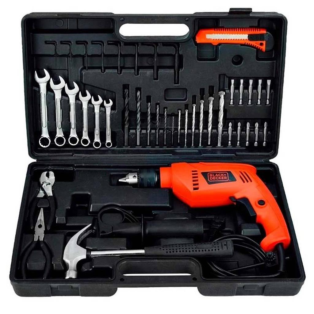 KIT TALADRO PERCUTOR ELECTRICO BLACK&DECKER 10MM 550W + 40 ACCESORIOS